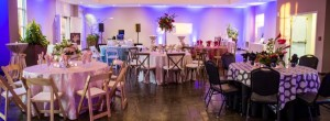 Custom party settings and versatile table layouts and floor plan for event space rental in Columbia, SC