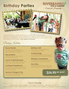 Birthday party package for Riverbanks Zoo and Garden