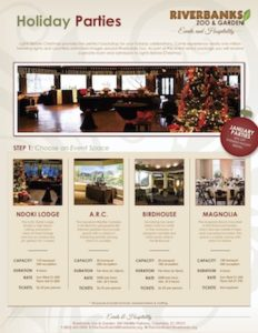 Holiday party packages available at Riverbanks Zoo in Columbia, SC