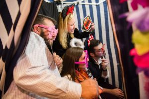 Party photo booth with fun accessories
