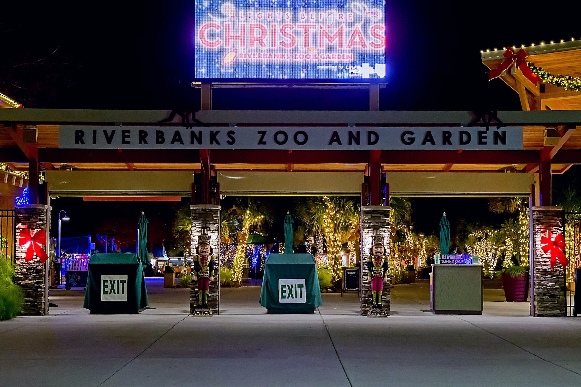 Entrance to the Lights Before Christmas at the Riverbanks Zoo, a unique Holiday Party Venue, in Columbia, South Carolina
