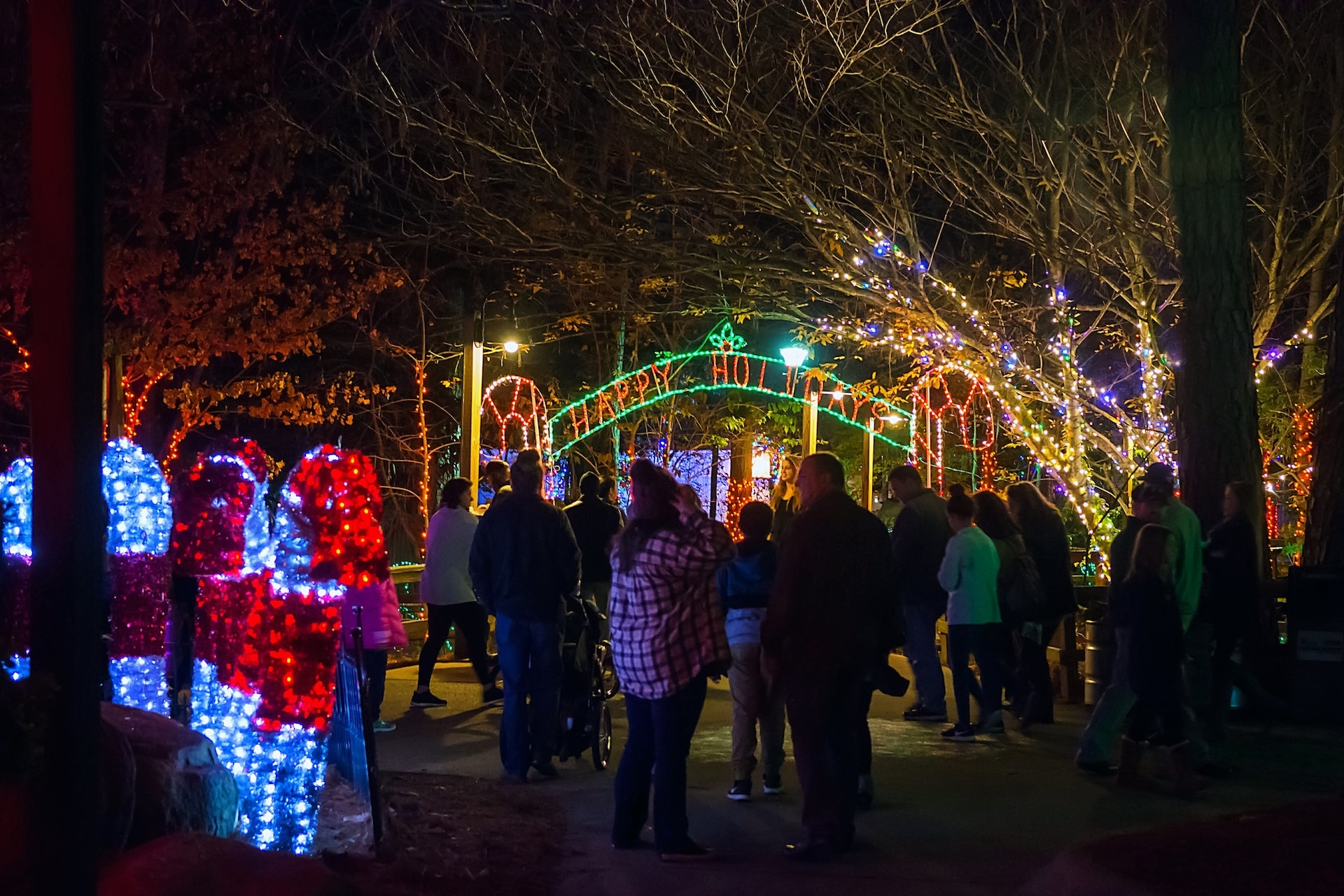 People enjoying the Lights Before Christmas at the Riverbanks Zoo, a unique Holiday Party Venue, in Columbia, South Carolina
