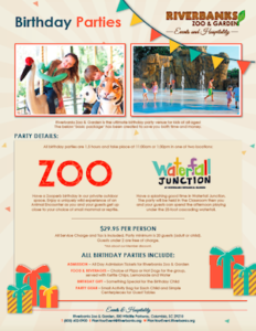 Plan your Birthday Party! Packages available at Riverbanks Zoo in Columbia, SC
