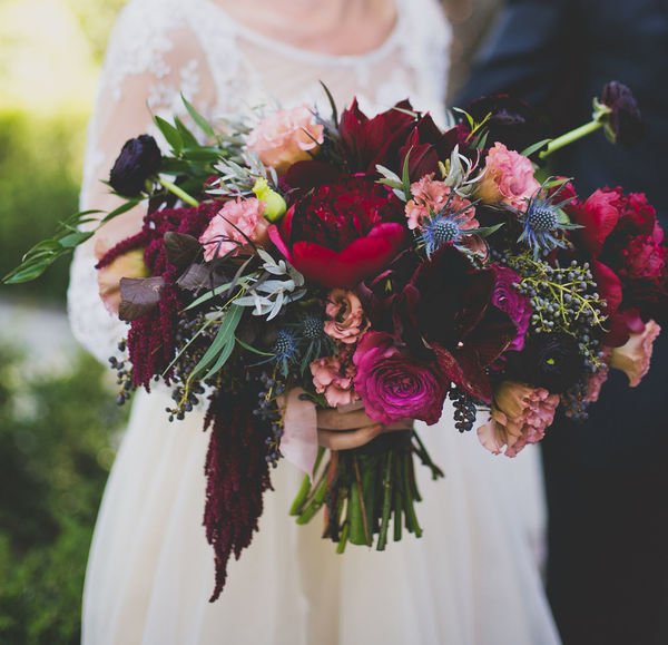 Jewel-tone wedding bouquet for a fall South Carolina wedding