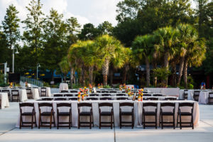 Long table set-up for an outdoor birthday lunch reception in the garden at Riverbanks Zoo.