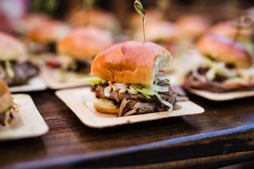 We have on-site catering for your private event at Riverbanks Zoo - sliders make great corporate event snacks!