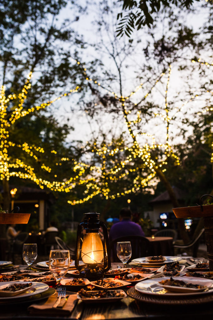 The Nook Patio is perfect for an outdoor wedding dinner in Columbia, South Carolina.