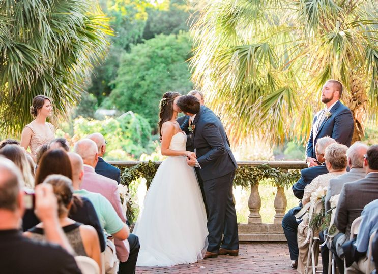 Wedding ceremony in the Botanical Gardens and Magnolia Room, a perfect Garden Wedding Venue in Columbia, SC