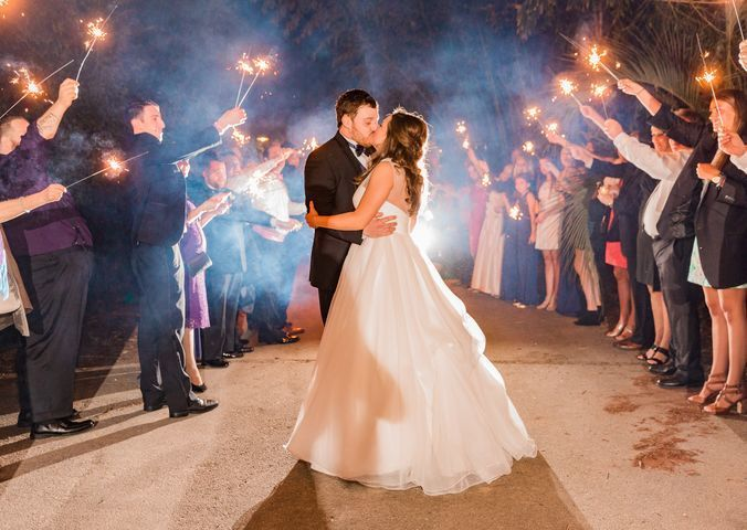 South Carolina Wedding exit with sparkler sendoff at Riverbanks Zoo