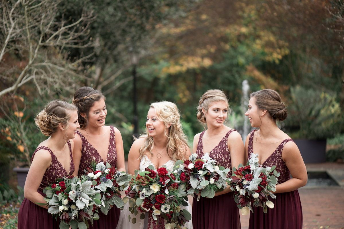 South Carolina Wedding Bridal Party at rustic and beautiful Riverbanks Zoo